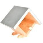 Rivanto® Erdnussbutterhaus mit Dach, quadratisch, aus Kiefernholz/Zink, 17,9 x 13,3 x 16,3 cm, mit Glas-Fixierung, einfache Montage