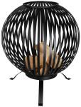 Rivanto® Feuerball mit Streifen, Ø 59,2 x 73,5 cm lasergeschnittenes Carbonstahl, Feuerschale, attraktive Gartendekoration, Lagerfeuer, schwarz