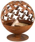 Rivanto® Feuerball mit Vogelmotiv, Ø59 x 56 x 64 cm, Carbonstahl lasergeschnitten, Feuerschale, attraktive Gartendekoration, Lagerfeuer, Rostoptik