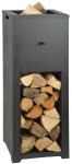 Rivanto® Feuersäule mit Holzlager, aus Metall, 39 x 39 x 100,4 cm, Oben Feuerschale, Unten Holzlager, fester Stand