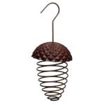 Rivanto® Futterfeder Eichel aus Eisen/Kunststoff, 9,7 x 9,7 x 22,8 cm, hängend, Futterspirale für Vogelfutter