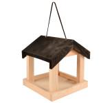 Rivanto® Futterhaus mit Dach, hängend, aus Kieferholz, 22,2 x 21,6 x 23,2 cm