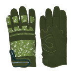 Rivanto® Garten Handschuhe gefüttert gemustert Größe L, Länge 19 cm, Bodenhandschuhe für Garten und Beet, Arbeitshandschuhe mit Klettverschluss