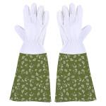 Rivanto® Garten Handschuhe mit Stulpe gemustert Größe M, Länge 18 cm, Pflanz- und Bodenhandschuhe für Garten und Beet, Arbeitshandschuhe, atmungsaktiv