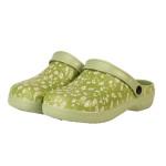 Rivanto® Gartenschuhe Größe 36-37 gemustert mit Blumendekor, mit Fersenbügel, grün, bequemer und schneller Einstieg, Kinder und Damen