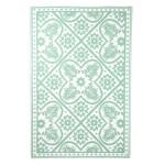 Rivanto® Gartenteppich Blumen Fliesen grün/weiß 182 x 122 cm, rechteckig, farbig sortiert, Schuhmatte, Terrassenteppich, wasserresistent