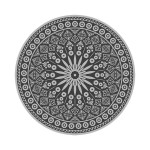 Rivanto® Gartenteppich Grau-Muster Ø 170 cm, Kunststoff Wasser-resistent