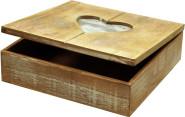 Rivanto® Geschenkbox aus Holz mit Herz-Bilderrahmen,20x20x6cm