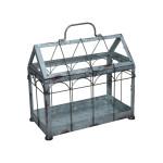 Rivanto® Gewächshaus m. verschließbarem Deckel, Pflanzenhaus Größe S, 29,3 x 15,4 x 26,4 cm, Eisen/Glas mit Tragegrifff, stabile Standfüße