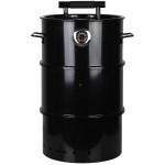 Rivanto® Grill- Räuchertonne Größe S mit Thermometer mit zwei Griffen, Ø 37,5 x H65 cm, schwarz