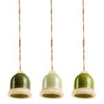 Rivanto® Grüntöne Futterglocke sortiert aus Ton/Hanfseil, 10 x 10 x 10,8 cm, Futterstation für Vögel, Vogelfutter-Glocke