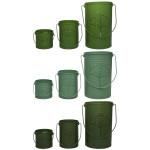 Rivanto® Grüntöne Serie Windlicht 3er Set in Blatt-Optik, 11,8x10,4x9,5/14x11,9x15/18,2x15,8x25 cm, farbig sortiert, hellgrün/dunkelgrün/grün