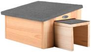Rivanto® Igelhaus aus Holz, 36 x 27 x 20 cm, mit wasserdichtem Schräg-Dach, aus Holz, mit überdachtem Eingang