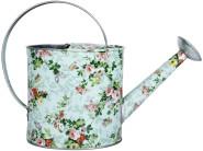 Rivanto® Indoor Gießkanne mit Rosendruck, 32,2 x 11,3 x 23 cm, verzinkter Stahl, mit großem Bügel, praktischer Ausgießer