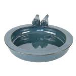 Rivanto® Keramik Vogeltränke mit Vogelfiguren, Ø 30 cm, Höhe 10 cm, petrol, Vogelbad für Wildvögel, Futterstation