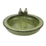 Rivanto® Keramik Vogeltränke mit Vogelfiguren, Ø 30 cm, Höhe 10 cm, grün, Vogelbad für Wildvögel, Futterstation