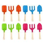 Rivanto® Kinder Gartenwerkzeug Set, Harke/Schaufel/Hand-Spaten, 6,4x2,5 / 7,4x2,5 / 6,3x3,5 x 20,4 cm, Farbwahl nicht möglich, orange/blau/pink/grün