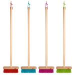 Rivanto® Kinderbesen mit Holzstiel, mit Aufhängeöse, 19 x 5 x H82 cm, 1 Stück, Farbwahl nicht möglich, orange / blau / pink / grün
