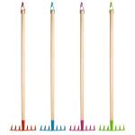 Rivanto® Kinderharke mit Metallkopf, farbig sortiert, Farbwahl nicht möglich, orange / blau / pink / grün, Holzstiel mit Aufhängeschlaufe