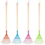 Rivanto® Kinderrechen mit Metallkopf, farbig sortiert, Farbwahl nicht möglich, orange / blau / pink / grün, Holzstiel mit Aufhängeschlaufe