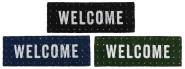 """Rivanto® Kokosmatte """"WELCOME"""" aus Kokosfaser/Kunststoff, 75,5 x 25,5 x 2 cm, 3-fach sortierte Farben, schwarz/blau/grün, Farbwahl unmöglich"""