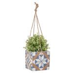 Rivanto® Port. Kacheln hängender Blumentopf aus Beton, 13,4 x 13,4 x 12,9 cm, quadratischer Blumentopf, Pflanztopf