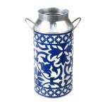 Rivanto® Portugiesische Milchkanne mit 2 Griffen, Ø 10,4 x H46 cm, Wasserkanne mit Henkeln, blau-weißes Design