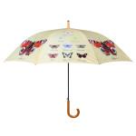 Rivanto® Regenschirm Schmetterlingssammlung, Ø 120 cm, Höhe 95 cm, Holzoptik-Griff, Grundfarbe beige mit Schmetterlingsabbildungen, Metallgestänge