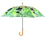 Rivanto® Regenschirm Tukan aus Polyester/Stahl, Ø 120 x 96,3 cm, Holz-Optik Griff, Regenwald-Design mit Tukan Vogel