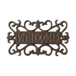 Rivanto® Schild Welcome aus Gusseisen, 21,6 x 0,9 x 12,7 cm, Willkommens Schild für Garten, Wandmontage