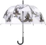 Rivanto® Schirm 2-seitiger Vogel aus Kunststoff, mit Metallstiel, , Ø 80,8 x 81 cm, transparent, in Vogel/Wolkenoptik, grauer Kunststoffgriff