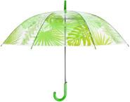 Rivanto® Schirm Dschungelblätter aus Kunststoff, mit Metallstiel, Ø 100 x 81,5 cm, transparent, mit Blattoptik, grüner Kunststoffgriff