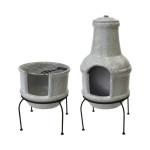 Rivanto® Terrassenofen/ Grill im Betonlook, Größe S, aus Ton/Eisen, 39 x 38,5 x 84 cm, zweiteilig, 2in1 Grill und Ofen