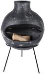 Rivanto® Terrassenofen Terrakotta mit großer Öffnung, ca. 50 x 37 x 77 cm, Größe M, kleiner Kamin, stabiles Standgerüst aus Metall, grau
