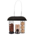 Rivanto® Trio-Futtersilo für Wildvögel, hängend, 13,5 x 25,5 cm, Höhe 25 cm, Futterstation für Meisenknödel, Kerne und Nüsse, Vogelfutter Aufhänger
