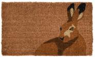 Rivanto® Türmatte aus Kokosfaser, in Hasen Form, 75 x 45 x 1,7 cm, Türvorleger, Fußabstreifer, braun