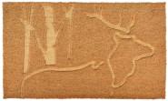 Rivanto® Türmatte aus Kokosfaser, mit Relief Hirsch Motiv, 75 x 45 x 1,7 cm, Türvorleger, Fußabstreifer, braun
