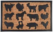 Rivanto® Türmatte Bauernhoftiere, 75,5 x 45,3 x 0,8 cm, aus Kokosfaser/Kunststoff, Türvorleger, Fußabstreifer, braun/schwarz