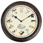 Rivanto® Uhr mit Bauernhoftiergeräuschen Ø 30 cm, Wanduhr mit Sounds, Kunststoff