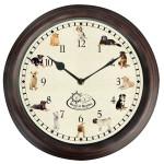 Rivanto® Uhr mit Hundegeräuschen Ø 30 cm, Wanduhr mit Sounds, Kunststoff