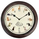 Rivanto® Uhr mit Katzengeräuschen Ø 30 cm, Wanduhr mit Sounds, Kunststoff