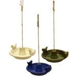 Rivanto® Vogelbad Keramik hängend, rund, farbig sortiert, aus Terracotta/Hanfseil, 30 x 27,6 x 10,2 cm, Vogelfutter-Station, Vogel Badewanne