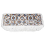 Rivanto® Vogelbad Portugiesische Kacheln aus Beton, 26,6 x 26,6 x 5,7 cm, Badeschale für Wildvögel, rechteckig