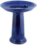 Rivanto® Vogeltränke auf Fuß, für Wildvögel, Keramik, Ø 42 x H47 cm, mit Vogelfigur, Gartendekoration, blau