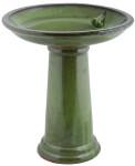 Rivanto® Vogeltränke auf Fuß, für Wildvögel, Keramik, Ø 42 x H47 cm, mit Vogelfigur, Gartendekoration, grün