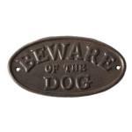 """Rivanto® Warnschild """"Beware of the dog"""", Gusseisen, 19,7 x 0,8 x 10,3 cm, """"Vorsicht vor dem Hund"""" Schriftzug, Gusseisen-Willkommensschild"""