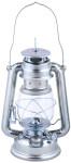 Rivanto® Windlicht Öllaterne aus Metall/Glas, 15,7 x 11,7 x 24 cm, mit Transportbügel und Aufhänge-Öse, Gartendekoration, Gartenlicht, silber