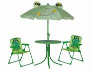 SIENA GARDEN Froggy Kinderset Frosch 2 x Klappsessel, 1 x Tisch, 1 x Schirm
