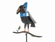 3 Stück SIENA GARDEN Gartenstecker Krähe mit Mütze. Metall, 30,5 x 40 x 162,5 cm