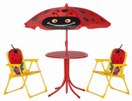 SIENA GARDEN Marie Kinderset Käfer 2 x Klappsessel, 1 x Tisch, 1 x Schirm
